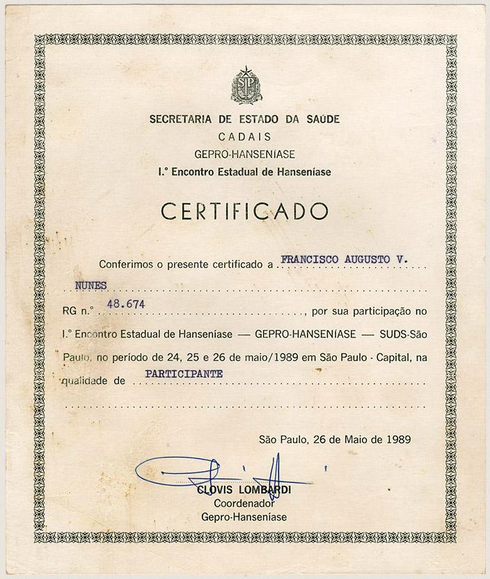 1º Encontro Estadual de Hanseníase - SP (1989)