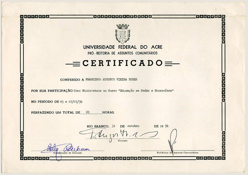 Curso Educação em Saúde e Hanseníase na UFAC (1991)