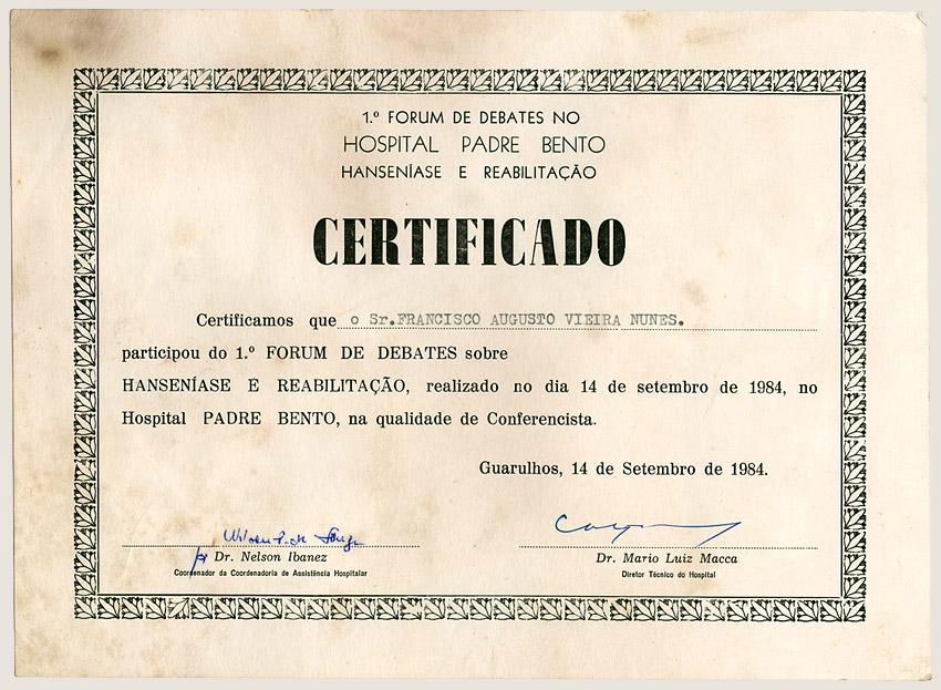 1º Fórum de Debates sobre Hanseníase e Reabilitação (1984)