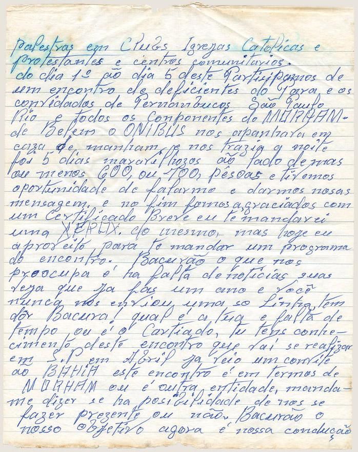 Carta de Raimundo Costa, o Curica, a Bacurau (1982)