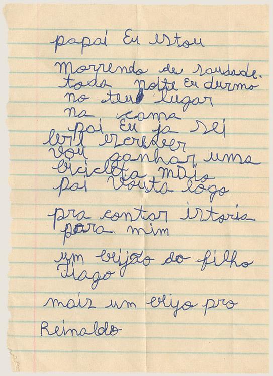 Carta do neto, Tiago, que o chamava de pai (1995)