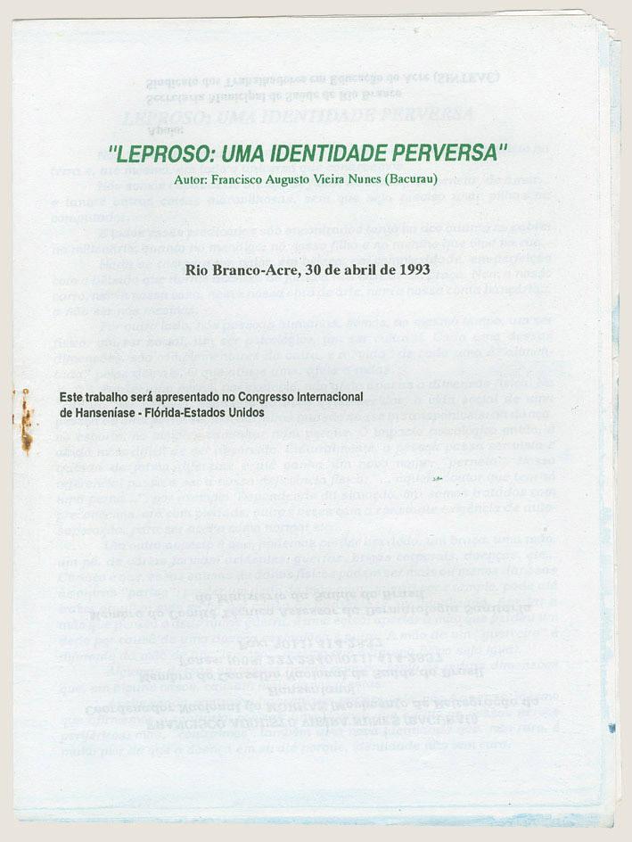 Artigo: Leproso uma identidade perversa (1993)