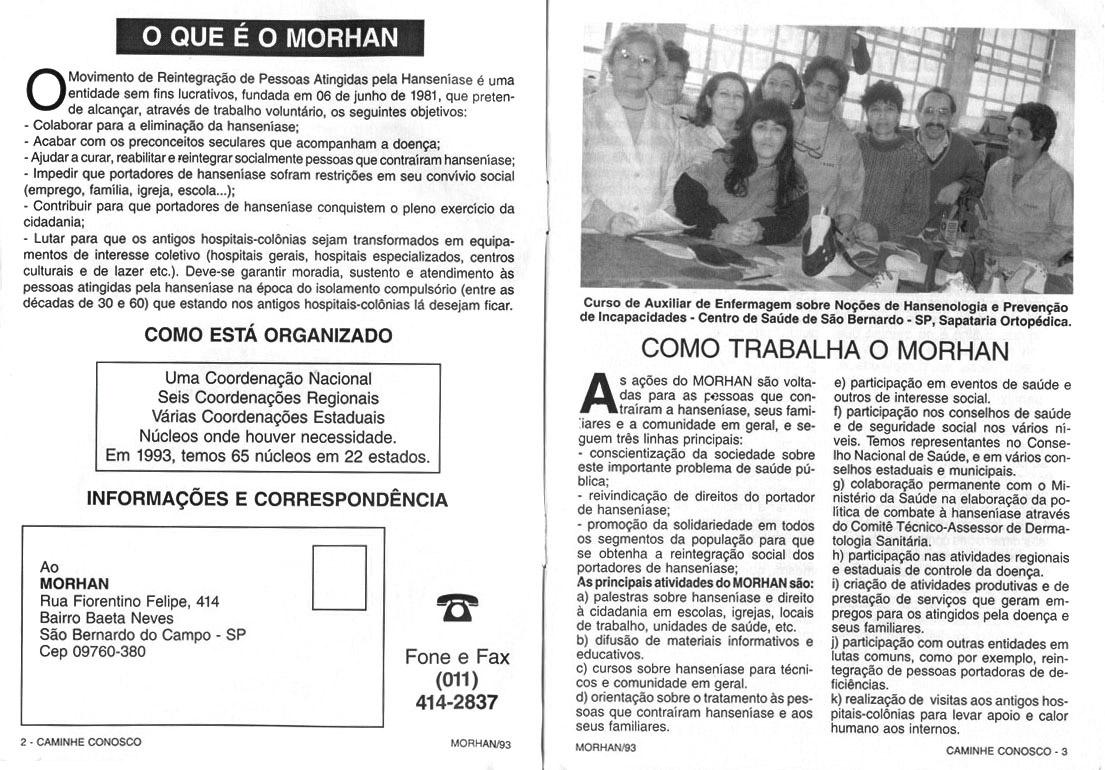 Morhan: Cartilha Caminhe conosco do Morhan