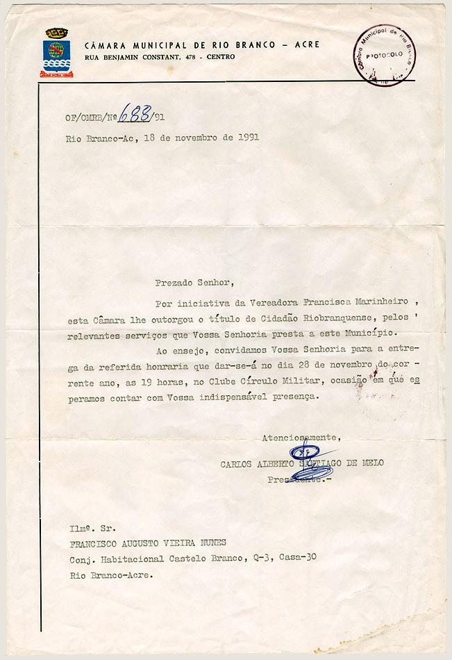 Anúnico do título de Cidadão Riobranquense (1991)