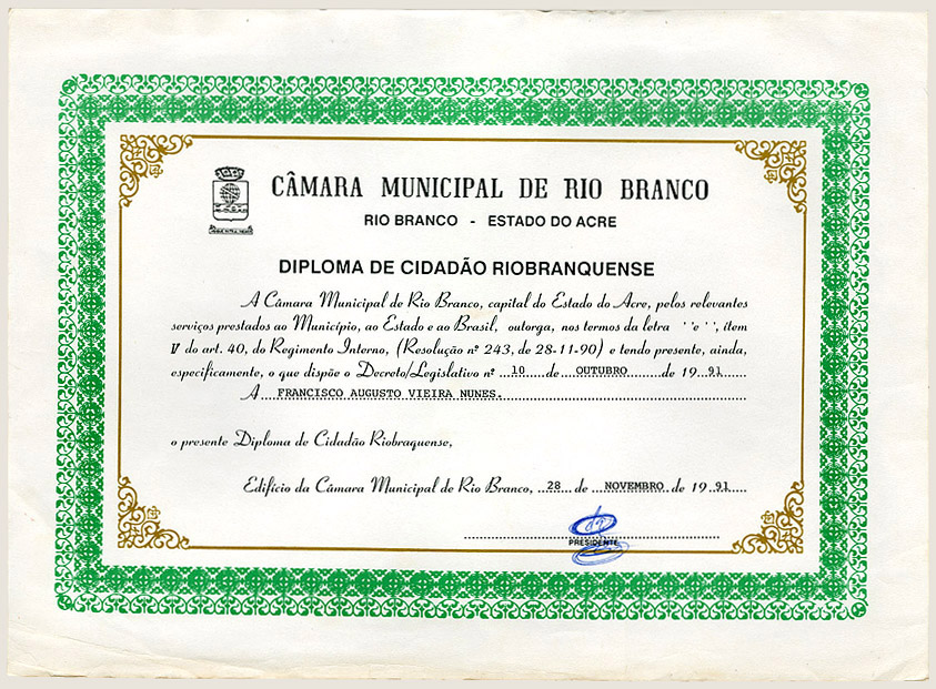 Diploma de Cidadão Riobranquense (1991)