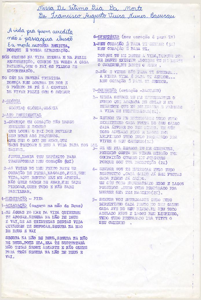 Roteiro da missa de sétimo dia (1997)