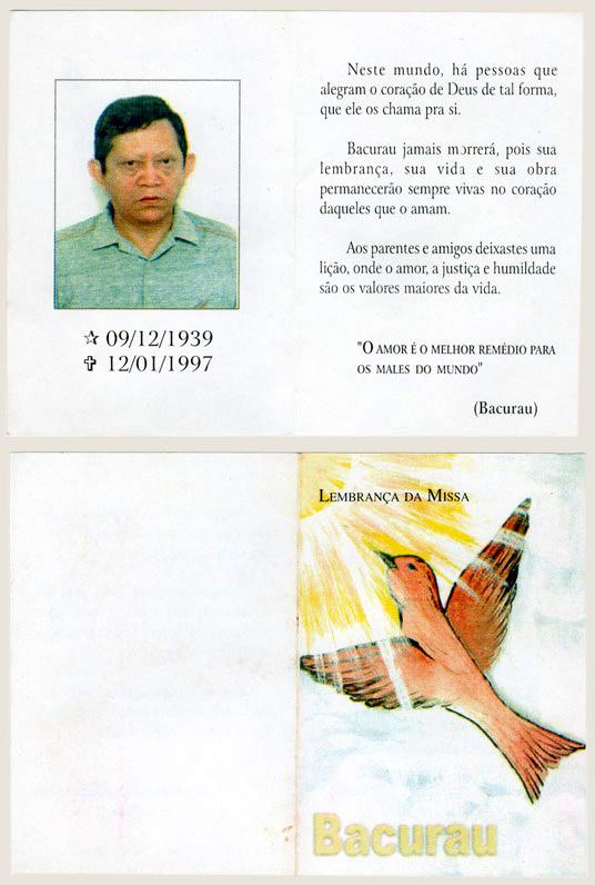 Cartão distribuído no funeral (1997)