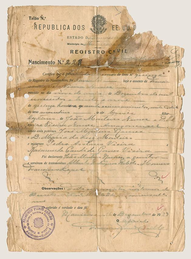 Certidão de nascimento (1939)