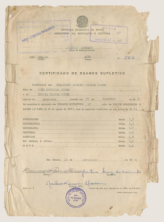 Certificado de exames supletivo (1974)