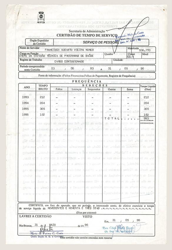 Certidão de tempo de serviço (1996)